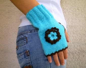 Fingerless Gloves, Knit Mittens in Turquoise Blue Brown
