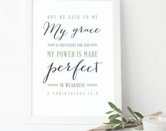 Bible Verse Print - 2 Corinthians 12:9 - Scripture Wall Art - Typography Print - Poster - Christian Art