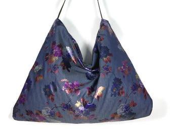 FREE SHIPPING/Sale Blue Denim Handbag Blue Denim Burgundy Floral Purse Denim Shoulder Bag Floral Foil Hobo Bag Denim Purses Denim Metallic