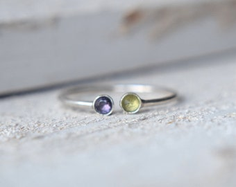 Mother's Ring- Personalized Ring- Dual Gemstone Ring, Two Gemstone Ring, Adjustable Ring, Double Gemstone Ring, Birthstone Ring