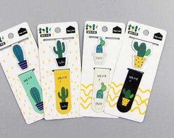 2 Pcs Cactus Magnet Bookmark
