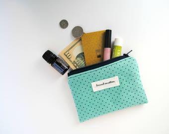 Teal Blue Coin Purse, Change Purse, Card Wallet, Navy Zipper, Navy Blue Lining, Small Zipper Bag
