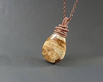 Brown jasper pendant, picture jasper stone copper necklace, handmade women birthday gift jewelry