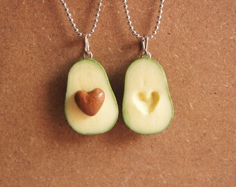 Avocado BFF Necklace - Miniature Food Jewelry, Polymer Clay Food. Miniature Avocado. Gifts. BFF. Inedible Jewelry.