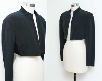 Black Cropped Blazer // Short Black Jacket // 90s Jones New York Formal Dressy Long Sleeve Bolero Size 4 Small