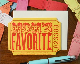 letterpress mom's favorite ticket sibling birthday greeting card yellow red cream raffle carnival ticket