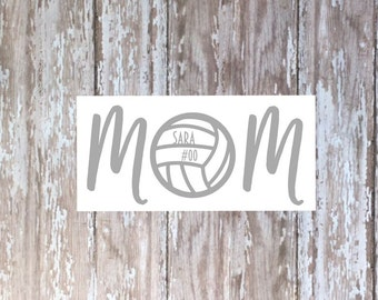 Volleyball Mom decal with name and jersey number, yeti decal, tumbler decal, car decal