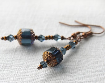 Statement Jewelry Magical Blue Lantern Earrings Czech Vintage Beads Dusty Blue Gray Crystals Tiny Copper Beads Oriental Ancient Mysterious