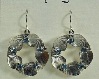 Vintage Light Blue Rhinestone Drop Earrings, Small Silver Circle Earrings, Blue Crystal Drop Earrings, Silver Leaf Earrings Under 25