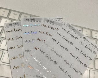 "Foiled planner stickers; script ""me time"""