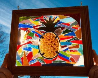 Pineapple Stained Glass Window Art Suncatcher