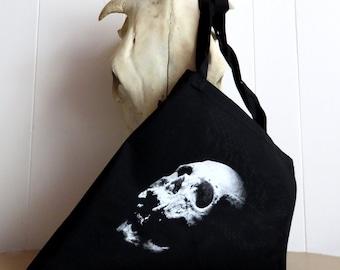 Skull tote bag, screen printed bag, gothic bag, skull bag, book bag, gothic gift, black tote bag, human skull, skull print, skull art, skull