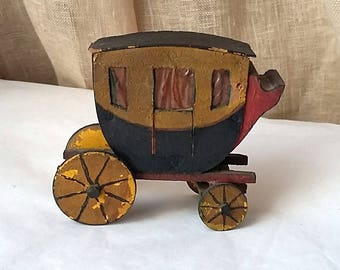 Vintage Toy Stage Coach, Wood Folk Art Primitive, Hand Painted