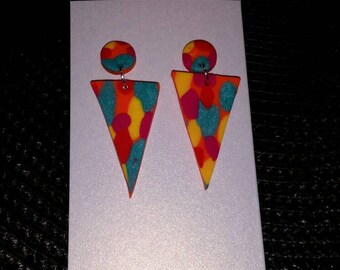 Spotted Triangle Dangle stud polymer clay earrings