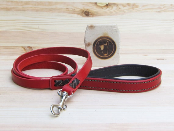 Red Dog Leash, Leather Dog Leash, Simple Dog Leash, Custom Lenght and Width, Colorful Dog Leash, Walking Dog Leash, Durable Dog Leads