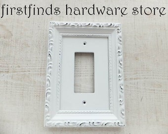 GFI Light Switch Plate Electrical Outlet Plug Cover Shabby Chic White Framed Painted Single Rocker Gang Screws Included DESCRIPTION BELOW