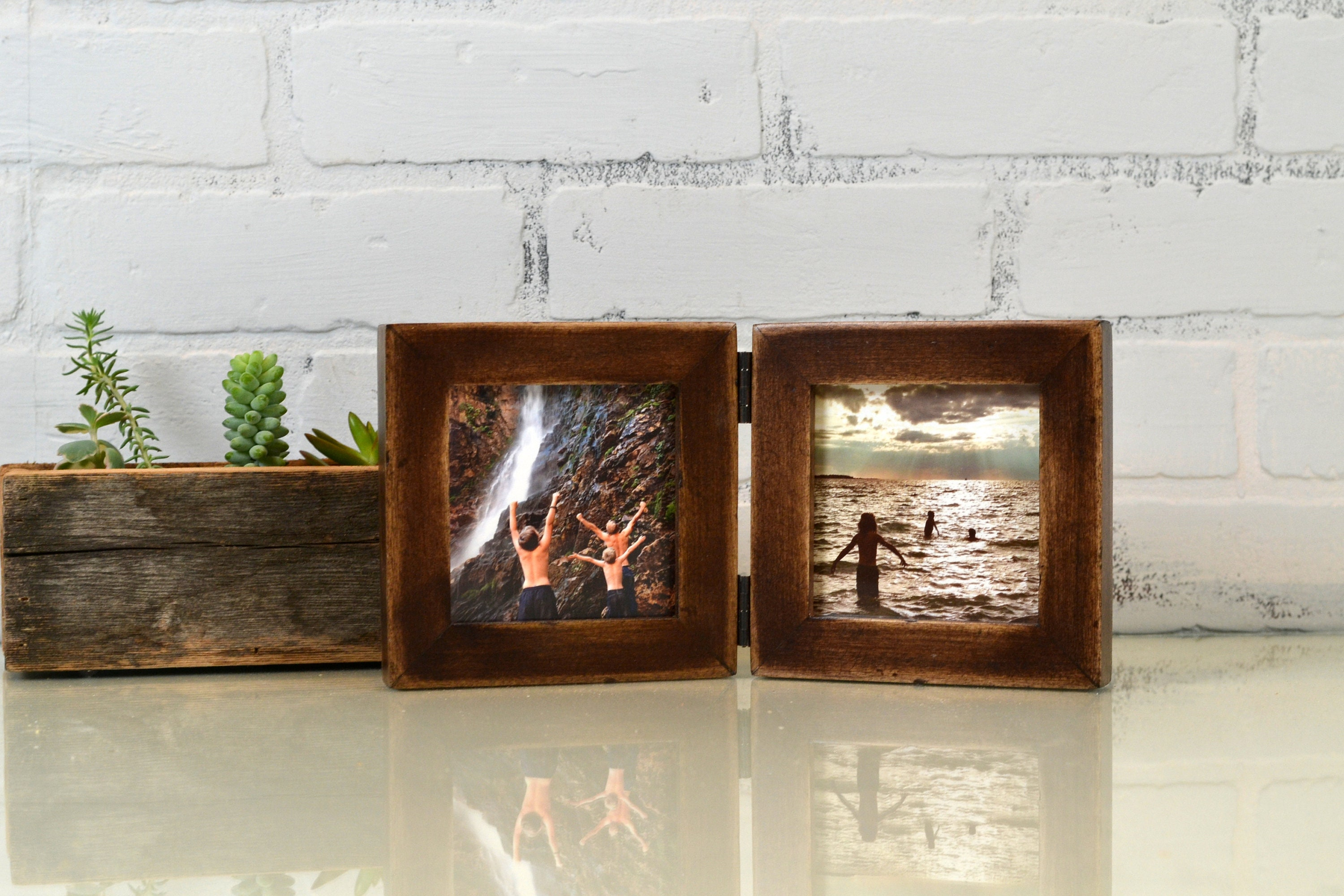 Two 4x4 square picture frames in 1x1 flat style hinged together in two 4x4 square picture frames in 1x1 flat style hinged together in color of your choice double frame 4x4 jeuxipadfo Images