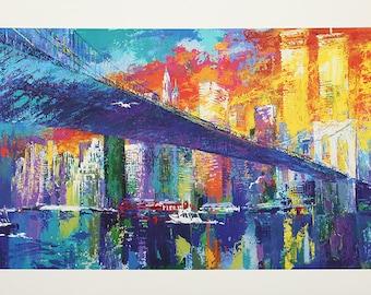 Leroy Neiman-Brooklyn Bridge-1986 Poster