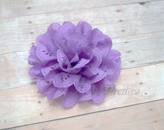 Lavender Eyelet Lace Flower Hair Clip - Lace Flower
