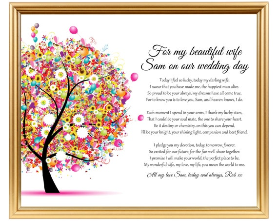 Wedding Day Gift For Wife: Personalized Poem Gift For Wife On Our Wedding Day Wedding