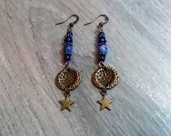 "Semi precious ""Blue Star"" - lapis lazuli - sodalite - Swarovski Crystal Pearl dangle earrings"