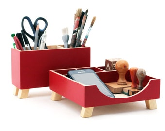 Desk Organizer, Red Desktop Organizer, Desktop Set, Red Wood Desk set, Office Accessories Tools holder, Wooden desk organizer