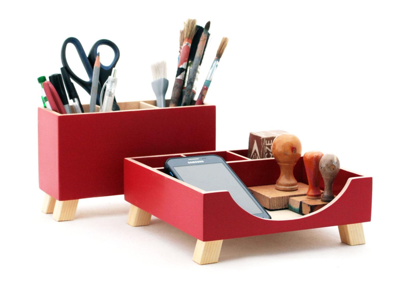 Red Desk Organizer, Desk Accessories For Office, Desktop Organizer, Red  Wood Desk Set, Desk Pen Holder, Command Center, Tidy Kids Desk Set