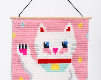 Maneki-neko, Lucky Japanese Cat Wall Art Embroidery kit, embroidery kit for beginners, Easy needle children kit, Tapestry kits for boys