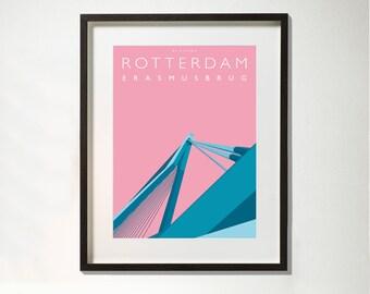 Erasmusbrug Rotterdam, ingelijst 32 x 42 cm