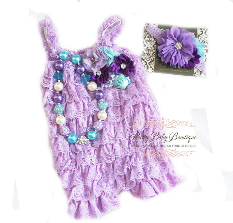 Birthday Cake Smash Girl Outfit Lavender Lace Romper Headband