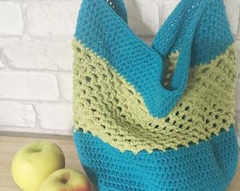 Green Cotton Crochet Mesh Net Market Bag - Cotton Market Bag - String Net Market Bag - Mesh Net Shopping Bag - Cotton Mesh Shopping Bag
