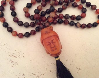Brown Agate Mala, 108 Knotted Necklace, 108 Mala Beads, Tibetan Buddhist, Brown Tassel Necklace, Yoga Gift, Tribal Necklace, Healing Beads