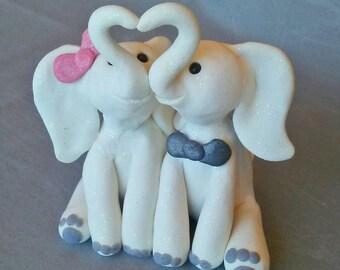 White Elephant / Valentines Gift / Elephants in Love / Gift for Her / Elephants Kissing / Elephant Decor / Engagement / Bridal Shower