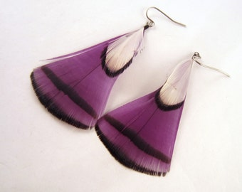 Purple Angel feather earrings with white