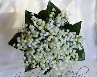 Lily of the Valley wedding, bridal bouquet.   Artificial lily of the valley bouquet and accessories.