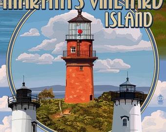 Martha's Vineyard, Massachusetts - Lighthouse Montage (Art Prints available in multiple sizes)