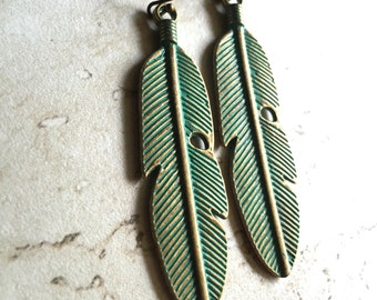 Feather Earrings Patina Metal,Metal Feather Earrings,Patina Earrings,Patina Feather Earrings,Boho Feather Earrings,Festival Earrings,Feather