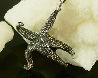 starfish, starfish pendant, sterling silver starfish - Dancing Starfish pendant with Sapphires