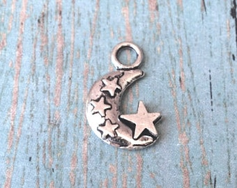 8 Moon and stars charms (2 sided) antique silver tone - silver moon pendants, outer space charms, galaxy charms, fairy tale charms, Box 55