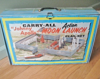 Marx Carry All Johnny Apollo Action Moon Launch Play Set Vintage 1970