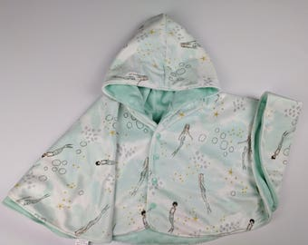Size 2 reversible mermaid minky car seat poncho - made to order - winter kids children's poncho -infant poncho - 12-24 months
