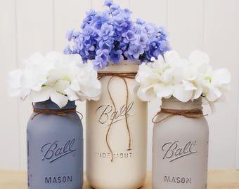 Set of 3 painted mason jars, 1 half gallon and 2 quart size, Mason jar centerpiece, Mason jar decor, rustic decor, wedding centerpiece,