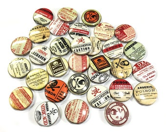 "Poison, 1"" Button, Poison Pin, Poison Button, Poison Pinback, Poison Flatback, Poison Theme, Poison Decor, Poison Badge, Poison, Caution"