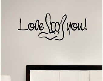"48"" Love you! Sign Language I Love You Wall Decal Sticker Art Mural Home Décor Quote"