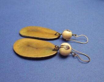 Tagua, vegetable ivory, slice, earrings, acai seed, natural, dangle, tropical, boho, brass, handmade, one of a kind, Clarita Jewellery, UK
