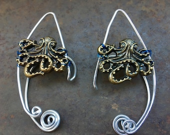 Ear Cuff, Elf Ears, Fairy Ears, Steampunk Earcuffs, Octopus Ear Cuffs, Octopus, Cthulu