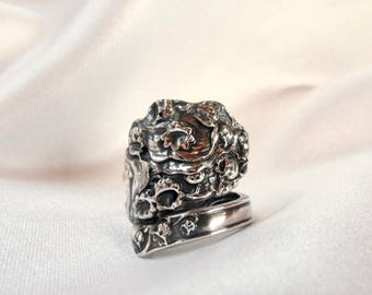 Lily of the Valley Sterling Spoon Ring Art Nouveau Rare Pattern Stunning Statement Ring Thumb Ring Symbolic of Return of Happiness
