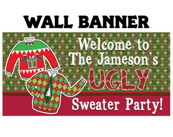 Ugly Sweater Party Photo Banner ~ Personalized Party Banners Holiday Party Banner - Christmans Ugly Sweate Party Banner