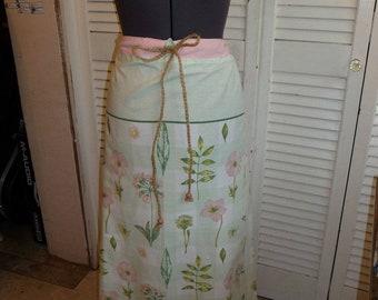 Handmade Skirt, Long Skirt, Upcycled Pillowcase, Unique Clothing, Recycled Fabrics, Drawstring Waist, Beads, Flowered Skirt, Pink Skirt,Cute