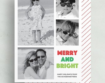 merry & bright holiday card // personalized photo card // red green stripe christmas card // printable // digital // custom holiday card